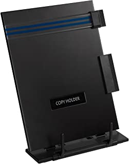 Copy Holder Easel - Portable Document Holder Reading Stand - Adjustable Steel Computer Paper Holder Typing Stand with Removable Clip & Line Guide, Fits Letter-Size Sheets, 9 x 12.5 x 6 Inches