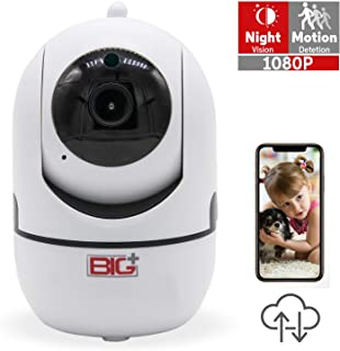 BIG+1080p Smart Home/Pet Camera with Night Vision, 2-Way Audio, Motion Detection, FHD, Indoor , Baby Monitor, 355-degree Pan/Tilt IP Camera