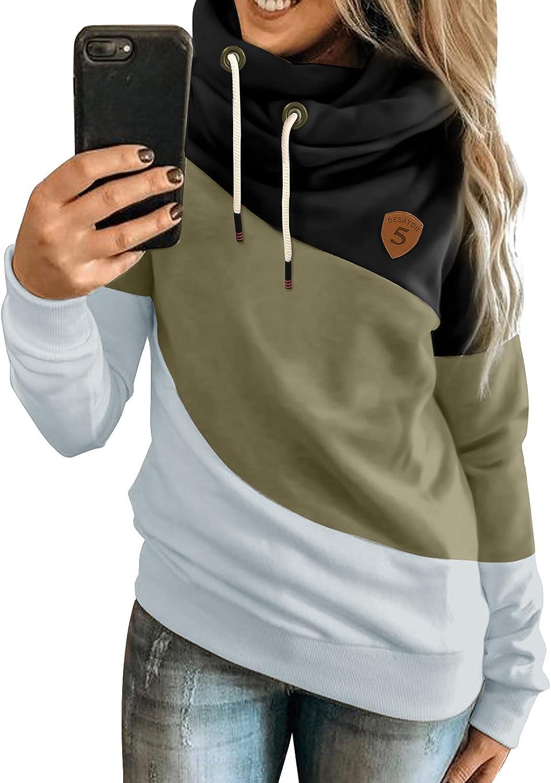 Acelitt Womens Hoodie Sweatshirts Casual Tunic Tops Long Sleeve Color Block Pullover Jumpers