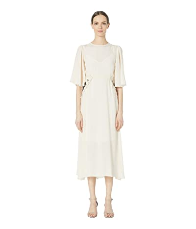 See by Chloe Flared Sleeve Embroidered Panel Crepe Midi Dress (Milk) Women