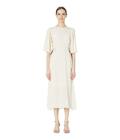 See by Chloe Flared Sleeve Embroidered Panel Crepe Midi Dress