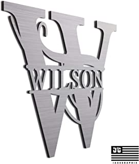 """JASS GRAPHIX Wilson 12"""" Brushed Aluminum Monogrammed Sign Door Wall Decor Last Name Signs for Home"""