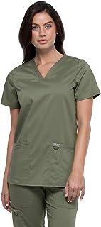 CHEROKEE Workwear Revolution WW620 Women's V-Neck Top, Olive, Medium