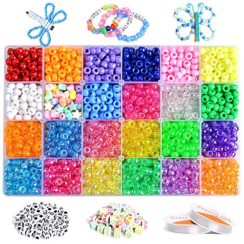 VICOVI 3640+pcs Pony Beads Kit for Bracelet Jewelry Making, Hair Beads, Include 23 Colors Rainbow Beads(9mm), 520 Letter Beads, 50 Color Beads, 90 Heart & Heart Beads and 2 Rolls Elastic String.