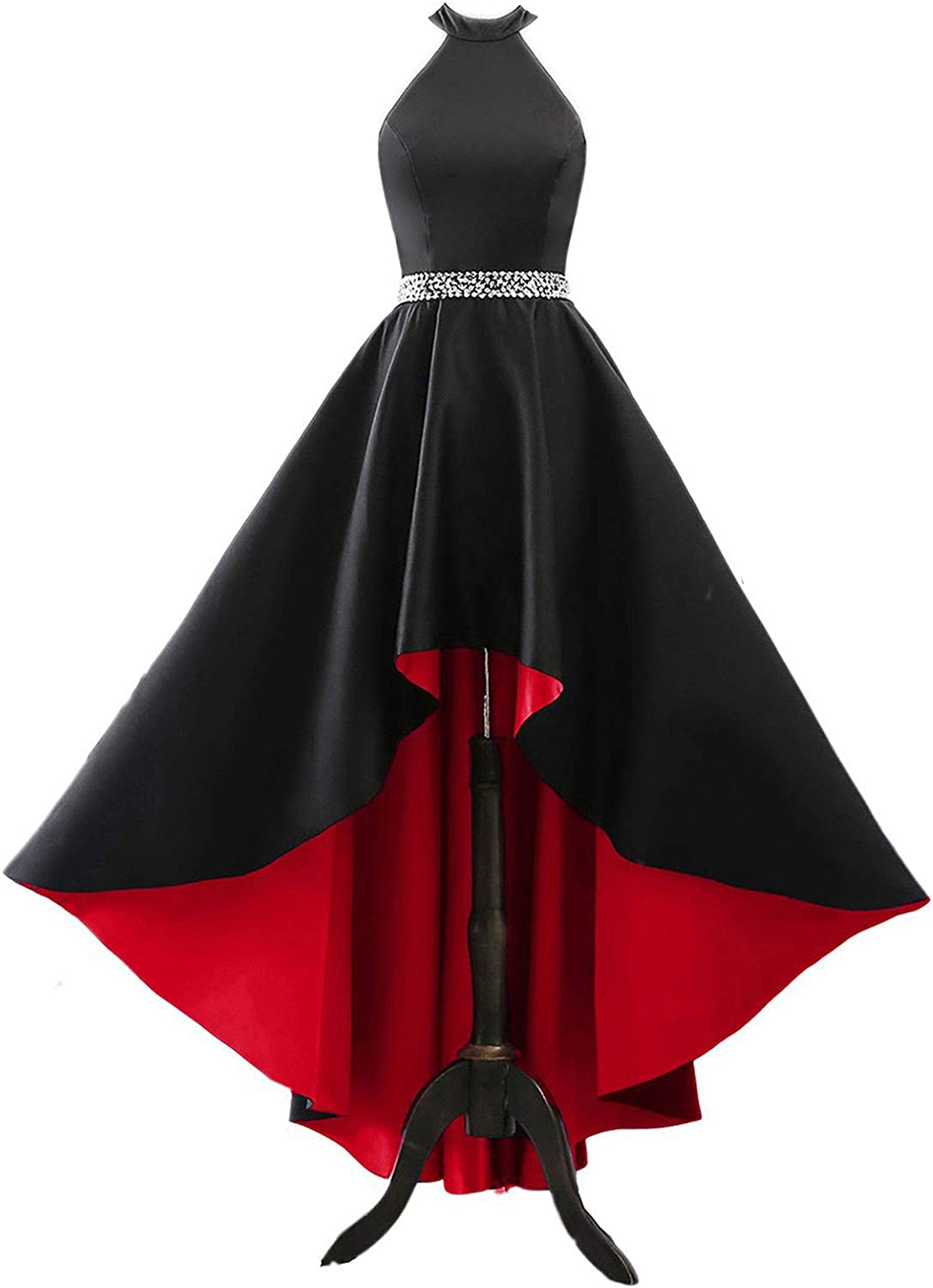 Changuan Halter High Low Evening Party Dress Long Satin Homecoming Prom Formal Gowns