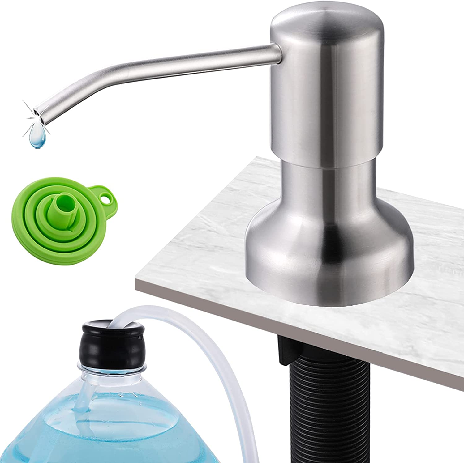 Soap Dispenser for Kitchen Sink, Built in Sink Soap Dispenser Stainless Steel Pump Brushed Nickel with 45