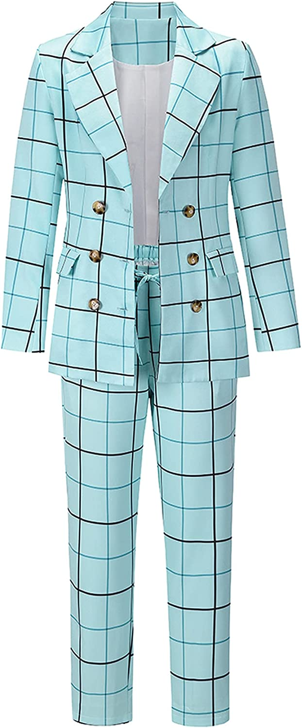 Women's Casual 2 Piece Plaid Suits Set Double-Breasted Notched Collar Work Blazer & Drawstring Pants