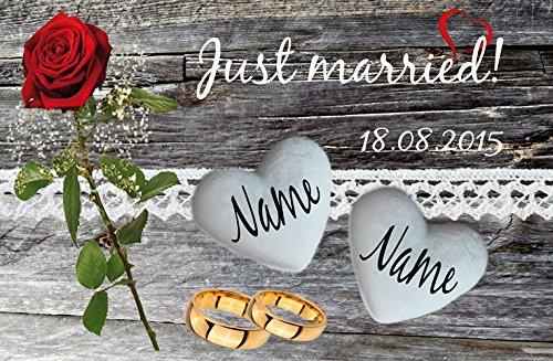 Eule-Design Just Married Rose Fußmatte Geschenk Ehe Hochzeit vermählung Heiraten Wohnung (60x40)