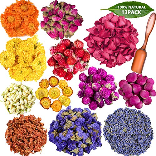 Vignee Dried Flowers Herbs Kit for Bath, Soap Making,12 Pack Dry Flowers for Resin,Jewelry,Candle Making with 1 Spoon - Include Rose Petals, Rosebuds, Lavender, Jasmin, Lily, Lemon Slice and More