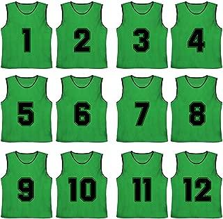 TOPTIE Numbered/Blank Scrimmage Team Practice Mesh Jerseys Vests Pinnies (12-Pack)