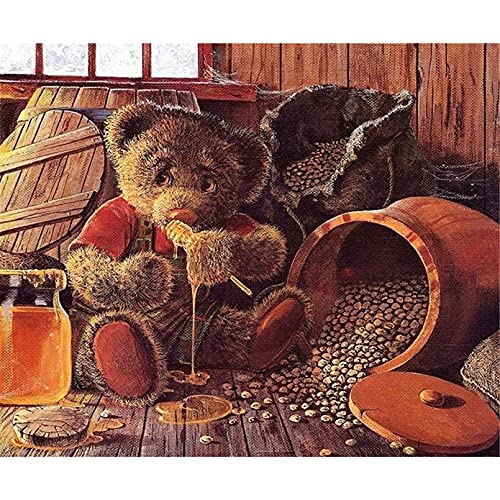 DIY 5D Diamond Painting Kit,Honey Bear Rhinestone Embroidery Full Drill Arts Craft DIY Pasted Painting Cross Stitch for Home Wall Decor 40x50CM