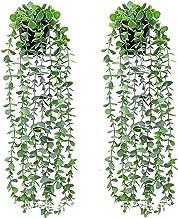 Ububiko 2 stuks, kunstranken, ijsplanten, eucalyptus, vals, klimop, groen, om op te hangen aan de muur, bruiloft, bloempo...
