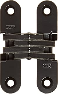 SOSS 208 Zinc Invisible Hinge with Holes for Wood or Metal Applications, Mortise Mounting, Black E-Coat Exterior Finish