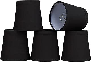 32046-5 Small Hardback Empire Shape Chandelier Clip-On Lamp Shade Set (5 Pack), Transitional Design in Black, 4