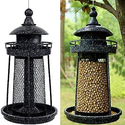 Twinkle Star Wild Bird Feeder Hanging for Garden Yard Outside Decoration, Panorama Gazebo Birdfeeder, Lighthouse Shaped