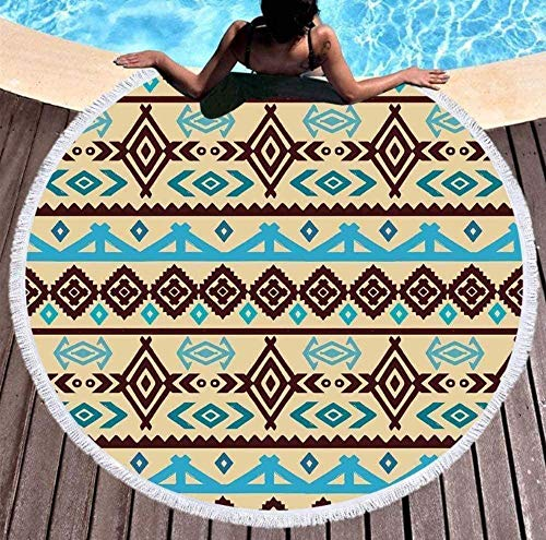 VFBGF Round Beach Towel,Elegant, Quick-Drying, Picnic matBeach Towel Quick-Drying Wheel with Tassel Print Dream Catcher Multifunctional Beach Towel