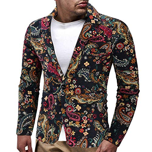 Amphia - Vintage-Blazer für Herren - Herren Kleid Floral Anzug Revers Slim Fit Stilvolle Blazer Kleid Anzug Mantel(Mehrfarbig,XXXL)