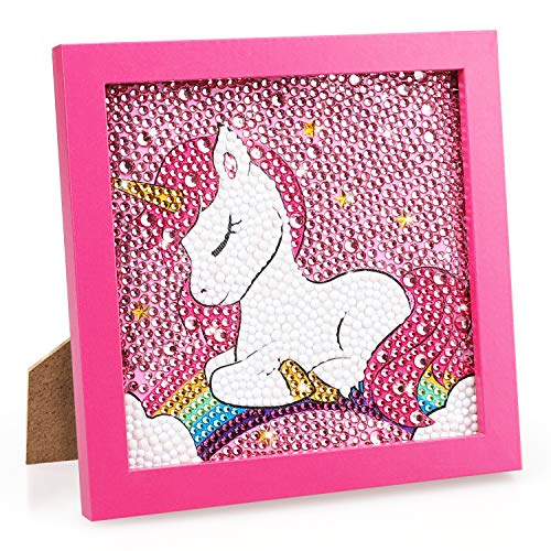 TOY Life 5D Diamond Painting for Kids with Wooden Frame - Diamond Arts and Crafts for Kids Ages 6 - 8 - 10 - 12 - Gem Painting Kit - Unicorn Diamond Painting Kits for Kids Girls(Sleeping Unicorn)