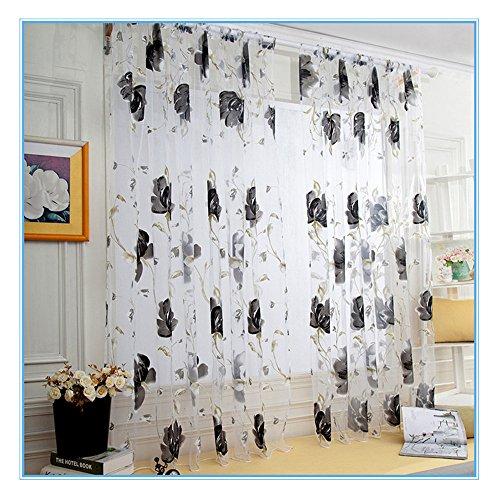 vorhänge gardinen Timogee Pfingstrose Tüll Fensterbehandlung Voile Drape Valance Schal Blickdicht Vorhang Ösen Gardine Microsatin, 1 Stück 200cm x 100cm (L x W) (Grau)