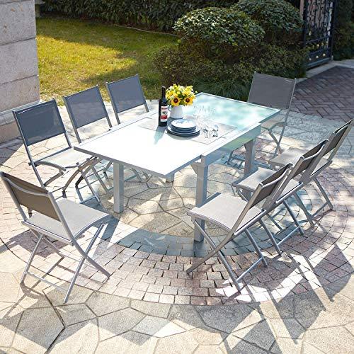 Salón de jardín con mesa extensible de aluminio y 8 sillas, Filomena