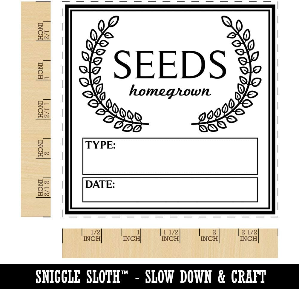 Seeds Homegrown Fill in Type and Date Gardening Square Rubber Stamp for Stamping Crafting 1.25in Small