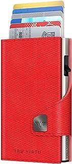 TRU VIRTU® Tarjetero Click & Slide Rojo Brillante/Plata I Estuche para Tarjetas de crédito I Estuche con protección RFID-N...