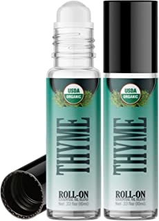 Organic Thyme Roll On Essential Oil Rollerball (2 Pack - USDA Certified Organic) Pre-diluted with Glass Roller Ball for Ar...