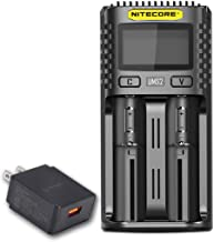 NITECORE UMS2 Intelligent USB Dual-Slot Quick Battery Charger for Li-Ion/Ni-MH/Ni-Cd/IMR 16340 14500 18650 21700 20700 AA AAA and More Batteries, with LumenTac QC3.0 Charging Adapter