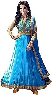 Rahi Fashion Women's Sky Blue Net Anarkali Embroidered Semi-stitched Salwar Suit Dupatta Material