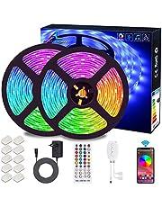 Bluetooth LED-strips, ALED LIGHT 10M (2x5m) 32,8Ft waterdichte IP65 RGB 5050300 (2x150) LED-strips met slimme Bluetooth-controller + afstandsbediening met 24 toetsen + 12V-voeding voor huis, tuin, decoratie