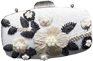 Women's Evening Bag, Flower Decoration, Diagonal Bag, Clutch, Suitable for Wedding Reception, Dating, Graduation Ceremony (Color : White)