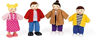Janod Wooden Family Set of 4 People for Dolls House Figures Childrens for Pretend Play Toy for Age 3+