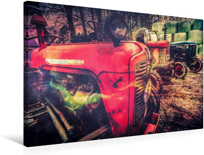 Premium Textile Canvas 75 x 50 cm Landscape Tractor Legends Massey and Hanomag