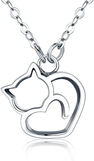 BISAER Cat Pendant Necklaces Sterling Silver, Cute Adjustable Chain Necklace for Women Teen Girls Christmas Birthday Gift.