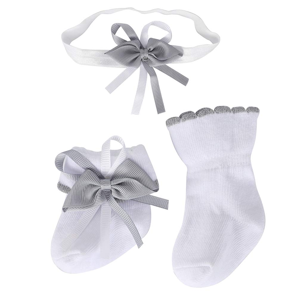 Baby Los Angeles Mall White Dressing Surprise price Socks for Girl and Head Bows with