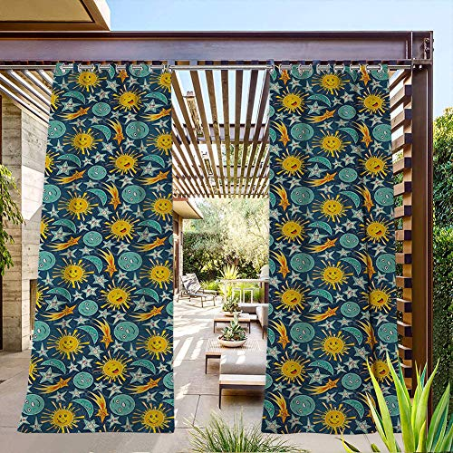 FOEYESEE Outdoor Grommet Curtains Sun and Moon Pattern in Childrens Cartoon Style Heavenly Bodies with Funny Faces Multicolor UV Protectant Grommet Curtain 120x84 Inch