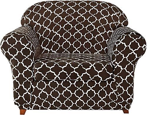 Fundas de sofá universales de 2 Piezas, Funda de sofá elástica Jacquard Fundas de sillón 1 2 3 4 plazas poliéster Spandex Estampado Floral (marrón, 4 plazas/sofá)
