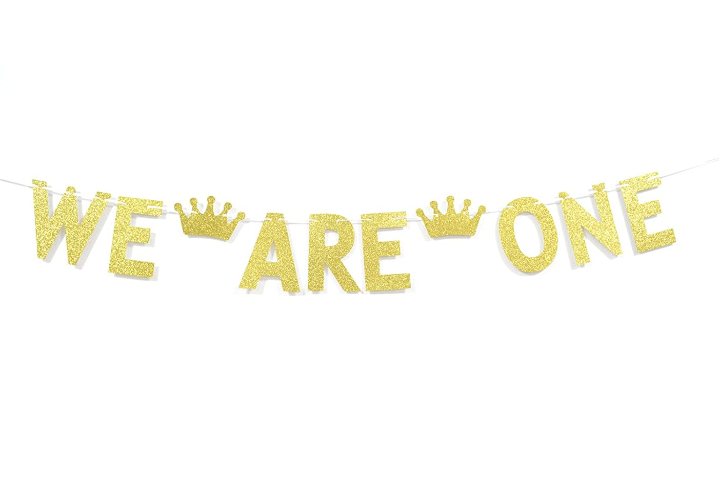 Qttier We are One with Crown Gold Glitter Banner for Twins' 1st First Birthday Party Decorations