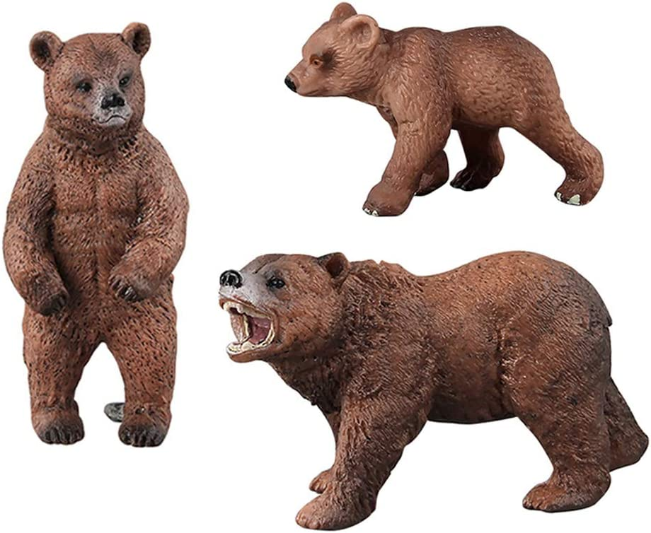 DOYIFun Pack of 3 Grizzly Bear Figures Toy, Forest Bear Animal Figurines Set Cake Topper Woodland Animal Party Supplies Baby Shower Brown Bear Home Office Decoration