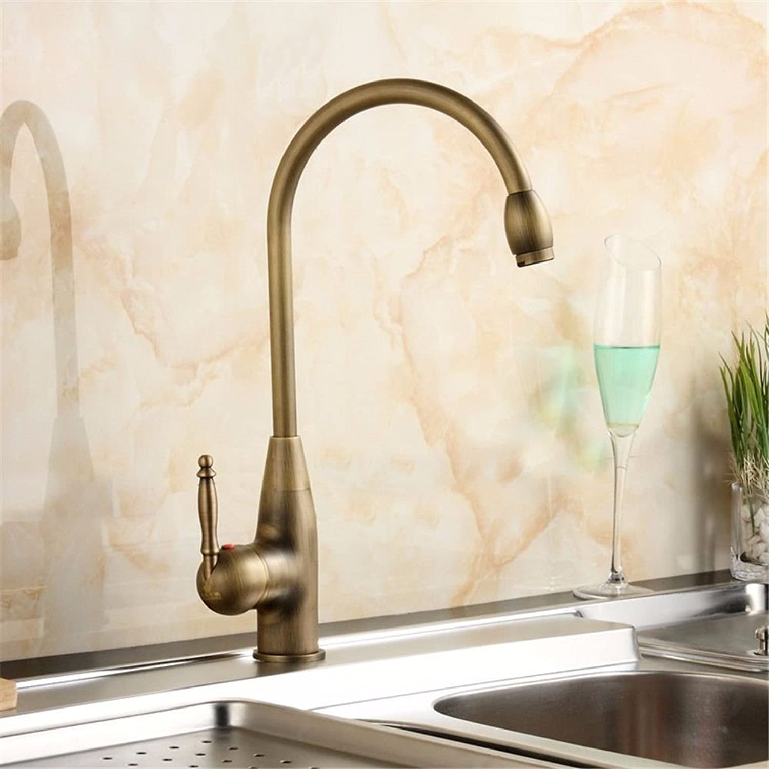 MARCU HOME Sink Mixer Tap Bathroom Kitchen Basin Tap Leakproof Save Water Antique Brass Creative Thick redating Kitchen Single Handle Single Hole Sink