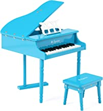 LAGRIMA Classical Kids Piano, 30 Keys Wood Mini Baby Grand Piano w/ Bench, Mini Musical..