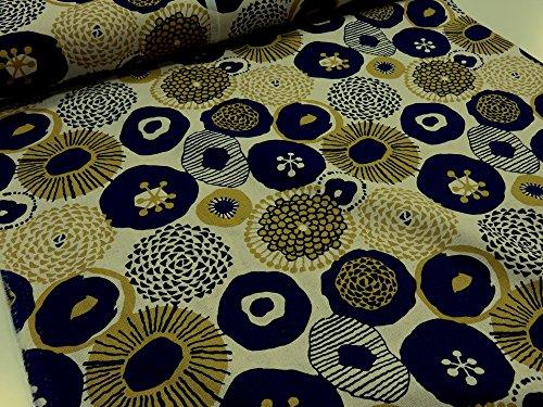 綿麻 インクブルーの花 オフ キャンバス生地 花柄 リネン 生地 布地 ぬの コットンリネン 麻 入園