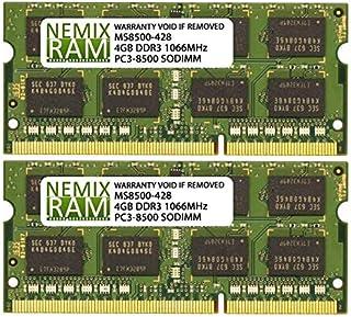 ذاكرة كمبيوتر محمول DDR3-1066MHZ PC3-8500 2Rx8 SODIMM سعة 8 جيجابايت (2x4GB)