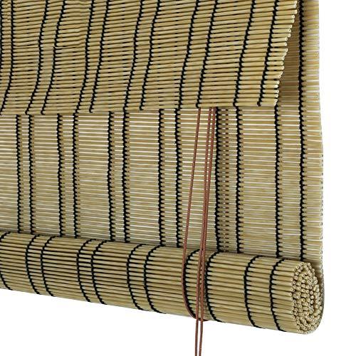 GDMING Bamboe rolgordijn houten rolgordijn natuur waterdicht buiten Romeinse schaduw zonwering decoratie rolgordijn voor balkon stofdicht duurzaam PE 3 soorten, aanpasbare grootte