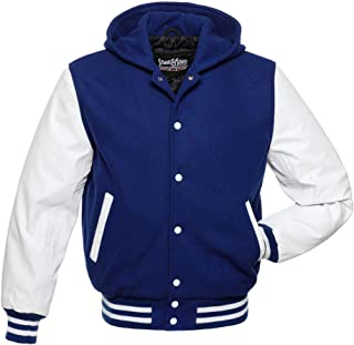 Stewart & Strauss Hoodie Varsity Letterman Jackes (10 Team Colors) Wool & Leather XXS to 6XL