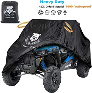 ClawsCover [Upgrade] UTV Covers Waterproof Accessories,115 Inches XL Heavy Duty 420D Oxford Material All Weather Outdoor Side by Side UTV Cover with Storage Bag,Sun Dust Snow Rain UV Protection Cover