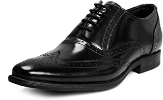 Bacca Bucci Genuine Leather Smart Brogues Formal Dress Shoes-Glossy Black