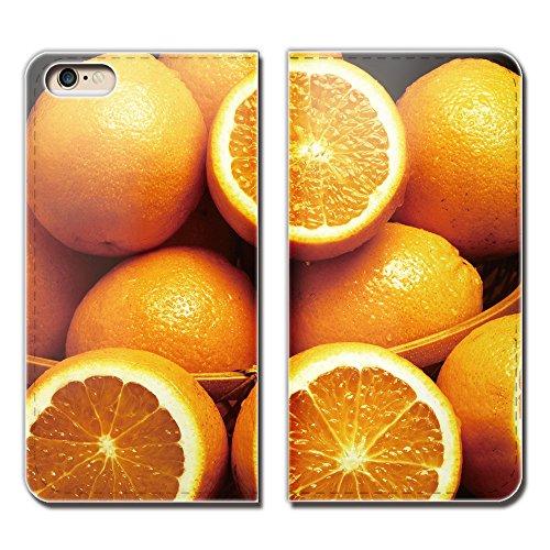 AQUOS sense3 basic 907SH ケース スマホケース 手帳型 ベルトなし フルーツ 果物 オレンジ みかん 手帳ケース カバー バンドなし マグネット式 バンドレス EB004040112301