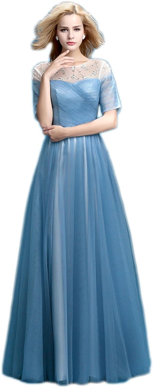 AK Beauty Women's Aline Sequins Tull Half Sleeve Evening Formal Dress