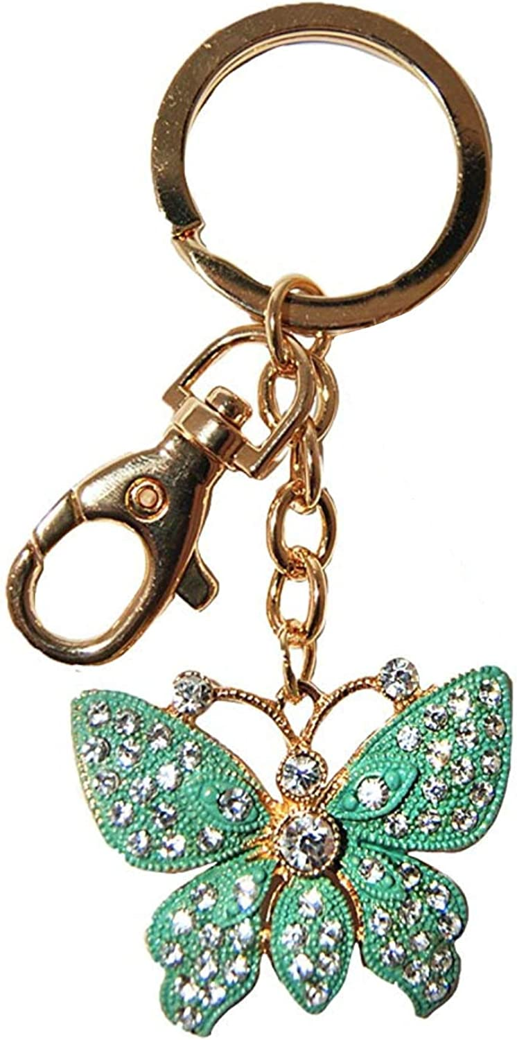 Beautifully Elegant Diamond Encrusted Green Butterfly Keychain